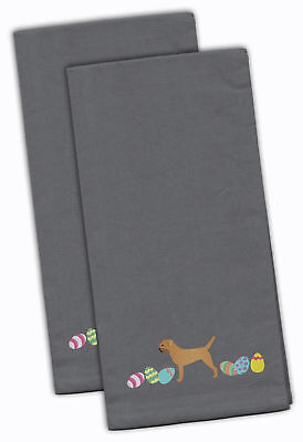 Border Terrier Easter Gray Embroidered Kitchen Towel Set of 2