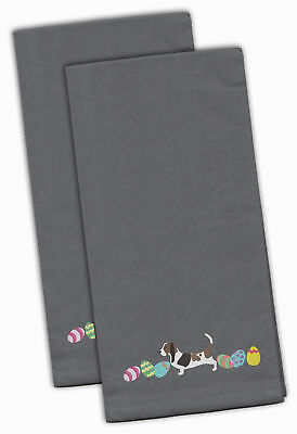 Basset Hound Easter Gray Embroidered Kitchen Towel Set of 2