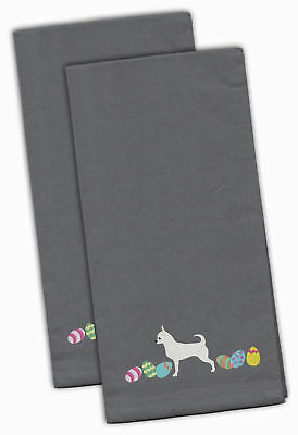 Chihuahua Easter Gray Embroidered Kitchen Towel Set of 2