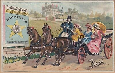 Victorian Trade Card-Domestic Sewing Machine Co-Boonville, NY-Carraige-Dalmation