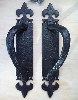 Pair HANDLE ON PLATE  FLEUR DE LYS cast iron door pull handles vintage rustic