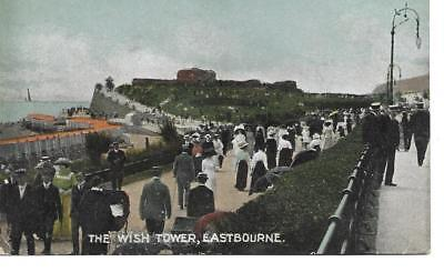 VINTAGE POSTCARD,THE WISH TOWER,EASTBOURNE.POSS 1900s.PEOPLE IN PERIOD DRESS.
