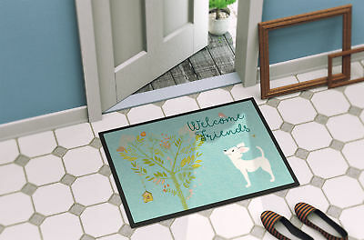 Welcome Friends White Chihuahua Indoor or Outdoor Mat 18x27