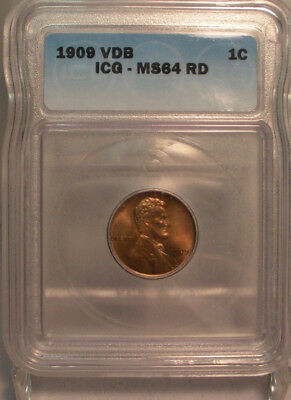 1909 Vdb 1C Lincoln One Cent Icg Ms64Rd Coin Copper Red Penny Incredible