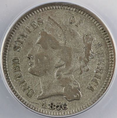 1876 THREE 3 CENT NICKEL low mintage