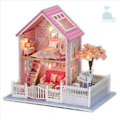 DIY Handcraft Miniature Project My Pink Little House Wooden Dolls House 2018