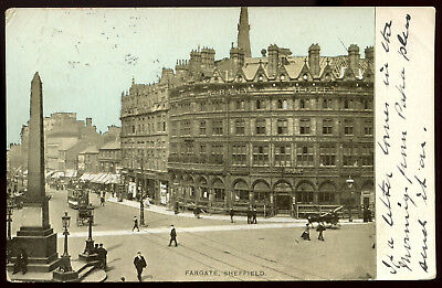 Old Rare Postcard Fargate Shops Hotel & Tram Used Dated 1904 (Ref: AA107)
