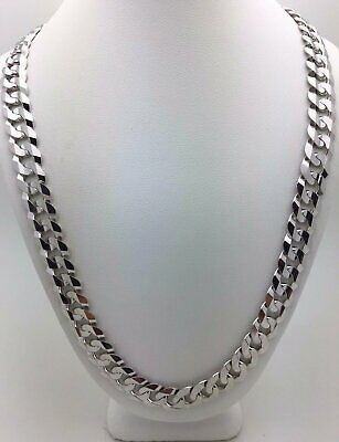 "Solid 14K White Gold 22"" Cuban Link Chain Necklace 9.5 mm - 56 grams"