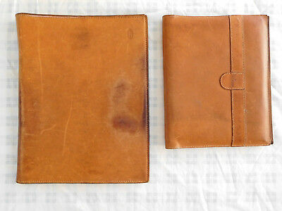Lot of 2 Hartmann Luggage Leather Portfolio Binder Folder Notepad Cover