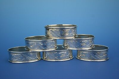 SET OF 6 STERLING SILVER BRIGHT CUT OVAL NAPKIN RINGS - SHEFFIELD 1999 - 79g