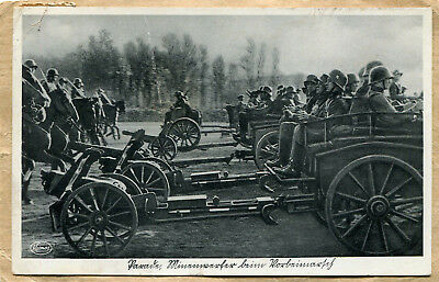 Carte post. WW2 SOLDATS CHARIOTS CANONS CHEVAUX TAMPON 1937 + TIMBRE 9X14 !
