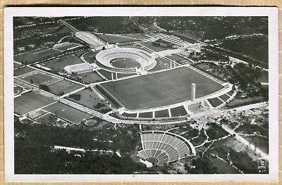 Carte post. WW2 STADE JEUX OLYMPIQUES BERLIN 1936 TAMPON 1936 + TIMBRE 9X14 !
