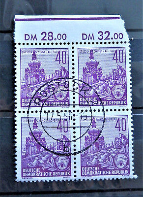1955 DDR EAST GERMANY BLOCK OF 4 STAMPS WITH MARG Mi: DD 456 XI  MINT HINGED MH*