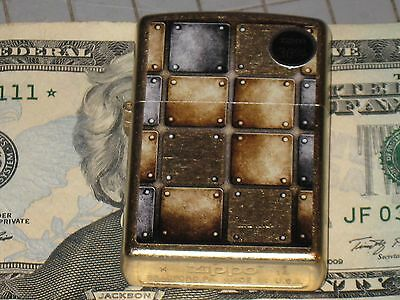 New Zippo Windproof USA oil Lighter 28539 Metal Design Rivets & Plates Gold Dust