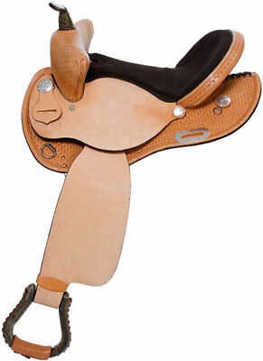 """Western Natural Leather Hand Tooled Barrel Racer 14"""" Saddle With Free Tack"""