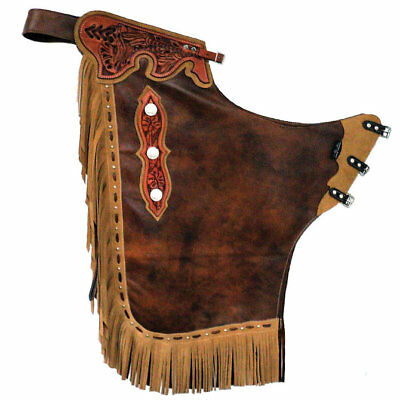 Western Brown Leather Chap with Matching Beige Fringes & Spot and Conchos