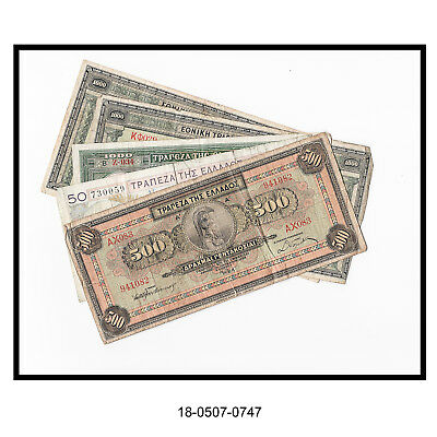 Lot of Five Greek Bank Notes (1926-1939)