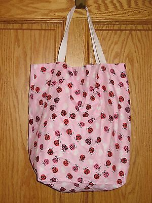 HAND SEWN CARRY PURSE BAG Pink LADYBUG HEARTS - Reversible Pink & White Pattern
