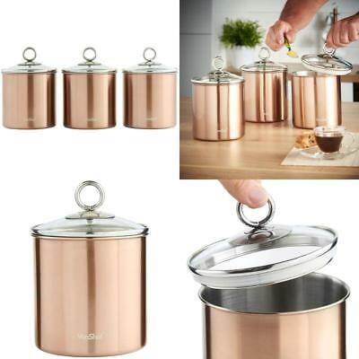 625751211538 VonShef Tea Coffee and Sugar Canisters Kitchen Storage Jars with Glass Lids  Brushed Copper Stainless Steel, Set of 3 ...