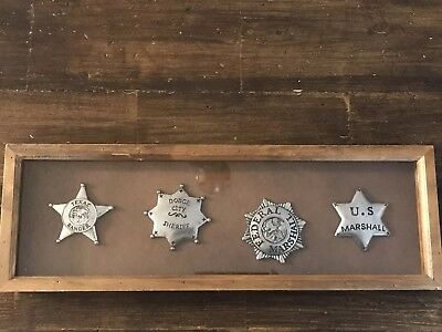 "Lot of 4 Western Replica Sheriff Badges from Old West Sheriff's in 18"" Shadowbox"