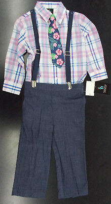 Toddler & Boys Young Kings $54 Navy & Pink Plaid Suit w/ Suspenders Size 2T - 7