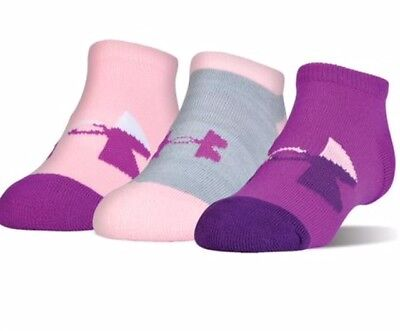Under Armour (UA) No Show Socks-3 pairs-(13.5K-4Y or W 4-6) pink/purple
