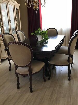 Baroque Carved Mahogany Vintage Dining Set, Table, 6 Chairs