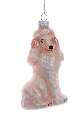 """Kurt S. Adler 4.25"""" Pink Glass Poodle With Bows On Her Ears Christmas Ornament"""