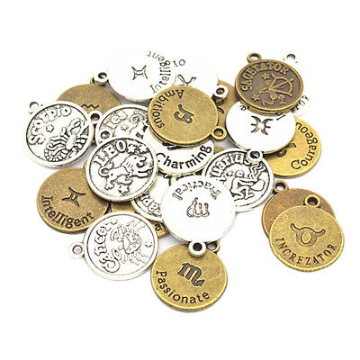 24pcs Retro 12 Zodiac Charms Pendants DIY for Jewelry Making Crafting Gifts