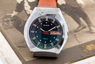 Vintage Blue Slava Glory USSR Soviet Russian Men's Watch with new leather strap