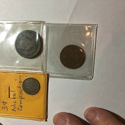 1847 One Cent Coin 1867 3 Cent Coin And 1865 2 Cent Coin