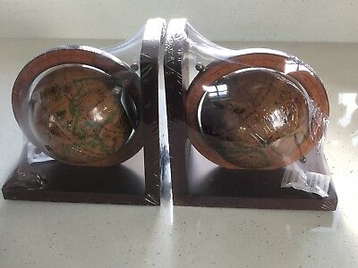 Wooden globe bookends new