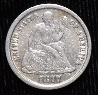 1877 CC Seated Liberty Dime  Fine Details  Cleaned