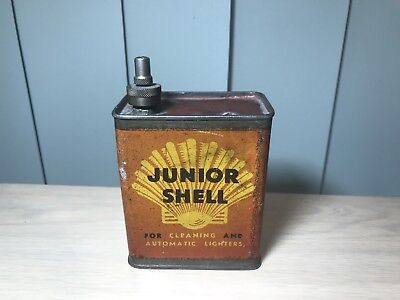 RARE VINTAGE 1930s SHELL JUNIOR OIL CAN TIN