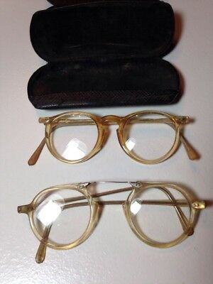 Lot of 2 Pair Vintage Safety Glasses & Hard Cases That Came With Them Nice!