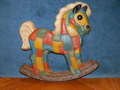 Vintage Horse Wall Decor Quilted Patch work Rocking Horse Multi Color Child