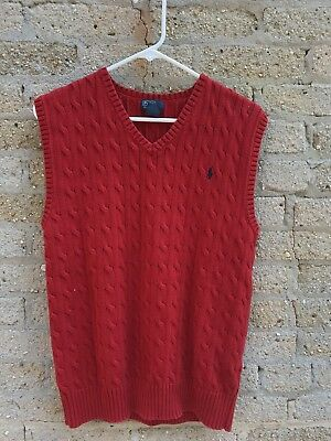 Ralph Lauren Polo Red Cable Sweater Vest Boys Size 18-20