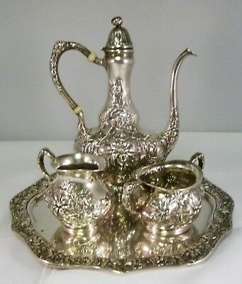 Unger Bros Art Nouveau 4 Piece Sterling Silver Coffee Set Chrysanthemum 1900-10