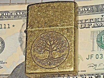 A New ZIPPO Windproof oil Lighter USA 11603 The Tree of Life Antique Brass Case