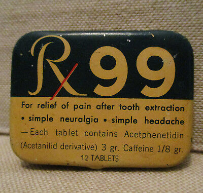 Vintage Advertising Tin-Rx 99 ASPIRIN-McKESSON ROBBINS-Health Medical Drug-Can