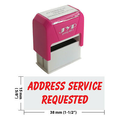 ADDRESS SERVICE REQUESTED - Self Inking Rubber Stamp - JYP 4911R-11  RED INK