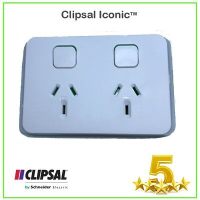 10 x Clipsal ICONIC 3025-VW Double Power Point 10 Amp