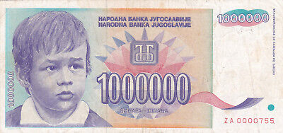 YUGOSLAVIA 1 Million Dinara  P120 Scarce Replacement Note - ZA prefix Low Serial