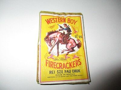 Western Boy Firecrackers label - made in Macao (3 by 2 inches) firecracker