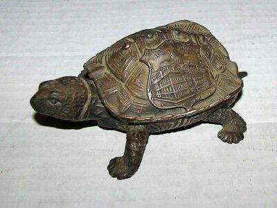 Antique Advertising Cast Metal Detail Turtle City Hall Baltimore Md Trinket Box