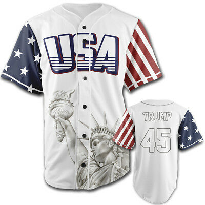 USA White Trump #45 Baseball Jersey Button Down by Greater Half (Small-4XL)