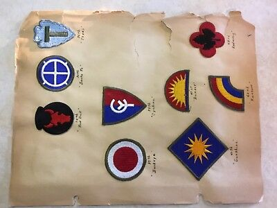 Lot 9-Authentic World War Ii Us Army Division Patches/shoulder Insignia Removed