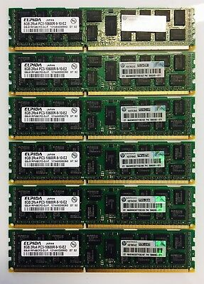 48GB DELL PowerEdge Server Memory 6x8Gb Dimms PC3-10600R ECC DDR3-1333MHz