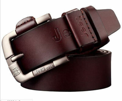 Mens Genuine Real Leather belts Metal Buckle Waistband Casual Belts Girdle Strap