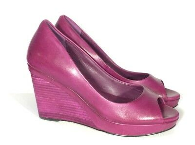 e4c43480f Cole Haan Sadie? Peep Toe Wedge Heels Magenta Womens 7.5 Purple Pink Leather